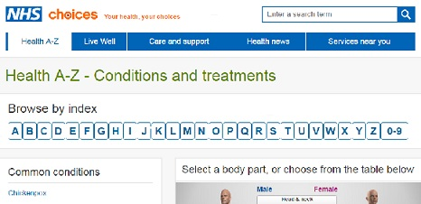 NHS Choices Health conditions and treatments A to Z